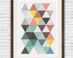 art print abstrait géométrique art géométrique affiche par handz