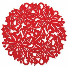"October Hill 15"" Poinsettia Placemat ($16) ❤ liked on Polyvore featuring home, kitchen & dining, table linens, felt placemats, red place mats, red table mats, colored placemats and red placemats"