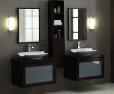 twin white sink with dark wood vanities and cabinet, mirror  of What You Do on Small Bathroom with Vanities and Sinks