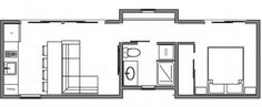 ModHaus is a one-bedroom unit with sleek exterior paneling and a contemporary architectural style. Tiny House Layout, Tiny House Blog, Small Tiny House, Tiny House Living, Small House Plans, House Layouts, House Floor Plans, Home Design, Tiny Cabins