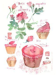 Pink cupcakes, original watercolor painting, kitchen art, food illustration, coconut cupcake, rose. via Etsy.