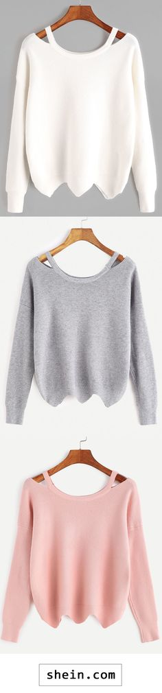 Cut Out Neck Seam Wave Hem Sweater
