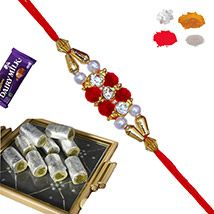 Pista Roll Sweets with Bracelet Rakhi and Shagun