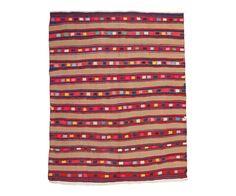 "Vintage Anatolian Kilim in Brown Stripes 5'5""x6'10"" from Floorplan Rugs"