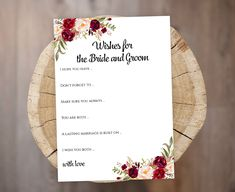 Printable Cards, Printables, Wishes For The Bride, Wedding Advice Cards, Printable Bridal Shower Games, Be My Bridesmaid Cards, Wedding Welcome Signs, Burgundy Wedding, Recipe Cards