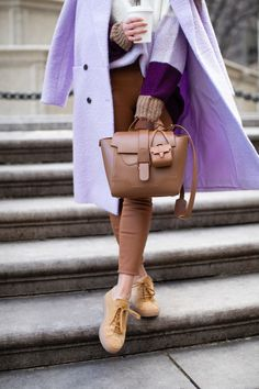 A Casual Winter Look in Lavender and Chestnut - Wendy's Lookbook Wendy's Lookbook, Casual Winter, Winter Looks, That Look, Lavender, Satchel, Style Inspiration, Bags, Fashion