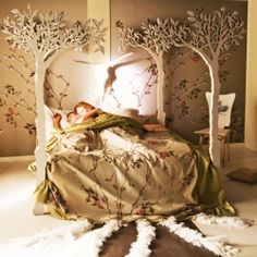 Modern fairytale Woodland Bed.   Handmade to measurements: single, queen, king size etc...