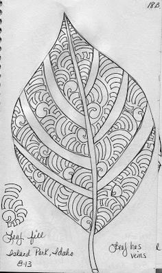 Leaf Design 6 (May Your Bobbin Always Be Full) Quilting Stitch Patterns, Machine Quilting Designs, Quilt Stitching, Longarm Quilting, Zentangle Patterns, Free Motion Quilting, Embroidery Patterns, Quilt Patterns, Zentangles