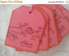 SALE About to Hatch Nest Baby Shower Tags Pink by LazyDayCottage