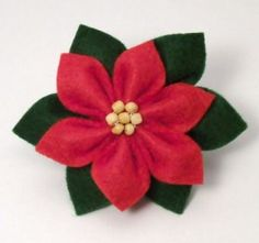 Flor de feltro - Enfeite de Natal