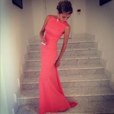 coral bateau neckline maxi dress | dress, coral dress, maxi dress, long dress, tight dress, high neck ...