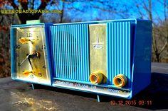 Motorola C11G Clock Radio Baby Blue 1960 Tube AM Clock Radio Totally Restored! Rare!