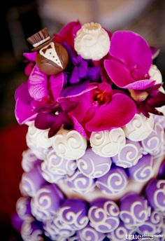 Cake Ball Love creates hand-crafted wedding cakes decorated with edible cake balls (like cake poppers). See unique wedding cake images from this La Valencia La Jolla wedding. Wedding Cake Bakery, Wedding Cake Pops, Unique Wedding Cakes, Unique Cakes, Wedding Desserts, Wedding Cake Toppers, Wedding Ideas, Wedding Inspiration, Pink Purple Wedding