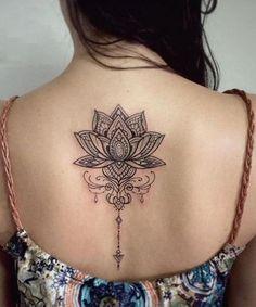 Best Lotus Flower Tattoos On Back for Girls