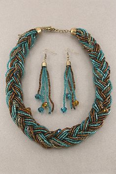 Seed Bead Necklaces   home / necklaces / Indigo Braided Seed Bead Necklace Set
