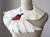 White Swan - felted wool animal scarf,bridal stole