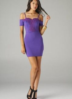 Purple Off the Shoulder Bodycon Dress with Crochet Detail,  Dress, off the shoulder dress  body con, Chic