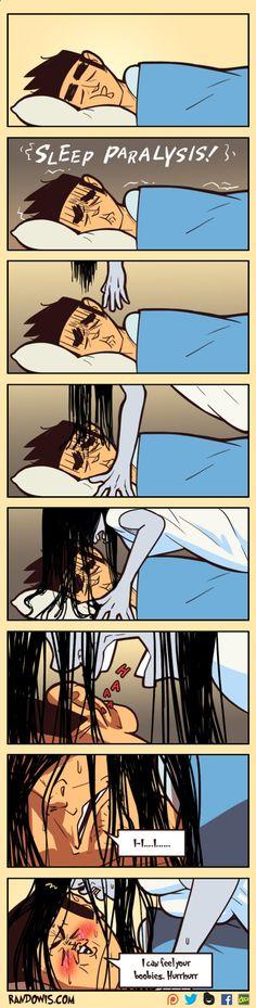 Probably MRW if I ever get sleep paralysis - Humour Spot Stupid Funny, Haha Funny, Funny Cute, Funny Memes, Hilarious, Funny Stuff, Randowis Comics, Sleep Paralysis, Funny Comic Strips