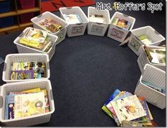 I sat in a circle and sorted my books by month. It took me FOR-EV-ER! Then I laid the rest of the 9 tubs on the floor, and as I came across centers, pencils, cutouts, or anything that I would need that month, into the tubs it went.