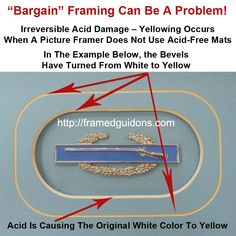 Example shows that not using acid-free mats causes yellowing—indicating the onset of permanent damage! Using the right mat board will save your art from damage.