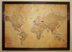 world map pin board
