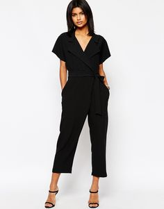 94d2f5f1cdcb ASOS Wrap Front Jumpsuit With Tie Waist at asos.com