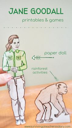 Learn about Jane Goodall with these printable worksheets, games and books! PLUS rainforest activities & crafts for kids! Learn all about her conservation work in the jungle with chimpanzees! Fun Crafts For Girls, Activities For Girls, Fun Crafts To Do, Science Activities, Educational Activities, Outdoor Activities, Rainforest Crafts, Rainforest Activities, Rainforest Theme