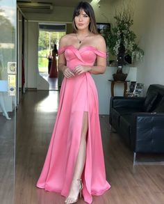 Prom Dress For Teens, A-Line Off-the-Shoulder Pink Satin Prom Dress with Split, cheap prom dresses, beautiful dresses for prom. Best prom gowns online to make you the spotlight for special occasions. A Line Prom Dresses, Formal Evening Dresses, Evening Gowns, Strapless Dress Formal, Bridesmaid Dresses, Dress Prom, Dress Long, Party Dresses, Rosa Satin