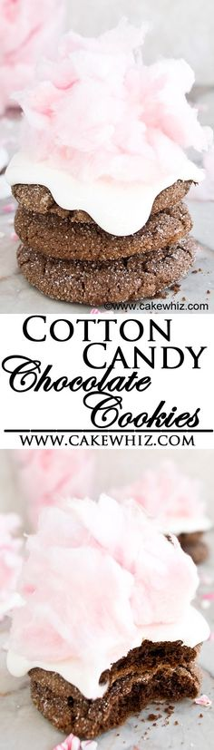 These COTTON CANDY COOKIES are so easy to make and perfect for birthday parties! Chocolate crinkle cookies (made with a cake mix!) are topped off with marshmallow fluff and pink cotton candy. From cakewhiz.com