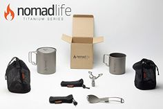Nomad Life Titanium Backpacking and Hiking Cooking System Includes Pot, Cup, Burner, and Spork *** READ REVIEW @ http://www.buyoutdoorgadgets.com/amzn/10158/B00TNY3TSE/DetailPage