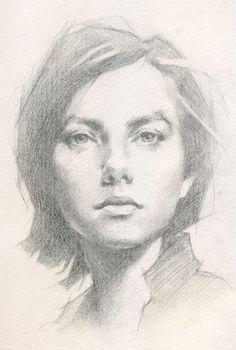 Artist: Jeff Haines, graphite {contemporary figurative art beautiful female head woman face portrait drawing} jeffhainesart.com
