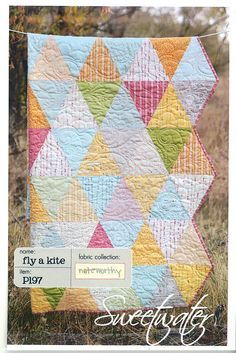 Sweetwater Fly A Kite Quilt - Modern Quilting Pattern - Fat Quarter Friendly - P197 - Uses Noteworthy Fabrics