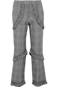 Simone Rocha - Ruffled Prince Of Wales Checked Cotton-blend Straight-leg Pants - Gray - UK14
