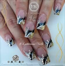Image result for black and gold nail art