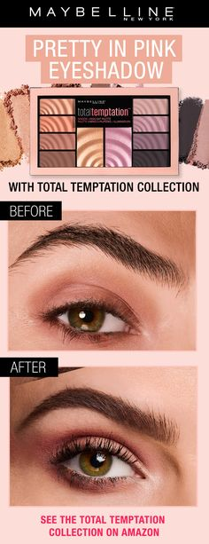 Get this pink eyeshadow and eye makeup look using NEW the Total Temptation collection. The collection features an eye and cheek palette, brow definer and coconut extract infused mascara for soft, voluminous lashes.  Click through to shop Total Temptation mascara and the full Total Temptation collection!