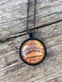 Black Ouija Board Necklace Large Glass Pendant Witch Gun Metal Fashion Jewelry