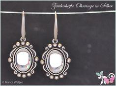 Ohrhänger - Vintage Ohrhänger 925 Silber Glas klar oval 20er - ein Designerstück von Zauberhafte-Ohrringe-in-Silber bei DaWanda