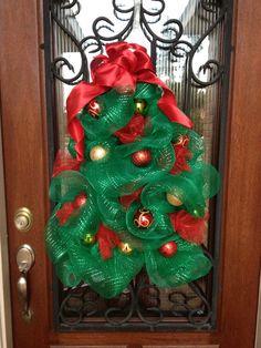 Christmas Tree Deco Mesh Wreath on Etsy, $75.00