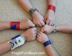 Duct Tape Craft for Boys – Velcro Arm Bands.  Have these pre-made and let boys choose color and attachments? On day they make swords.  Or would there be time for both?