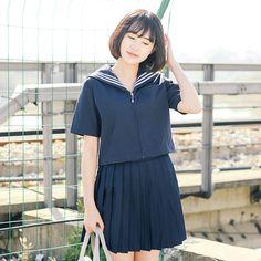 2017 new sailor suit student uniform classic service school uniform set pleated skirt japanese uniforms preppy style set
