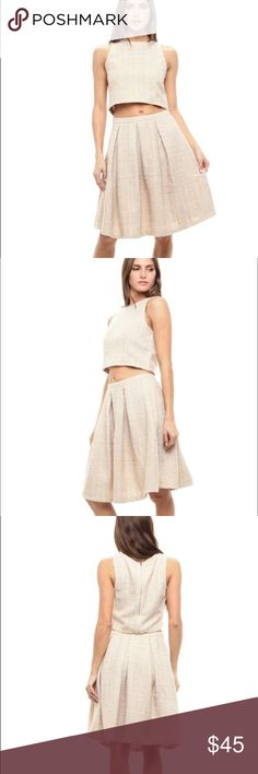 Cream tweed two-piece skirt set NWT cream tweed high quality midi skirt set with cropped top. Zipper back for both. Available in size small medium or large Skirts Midi