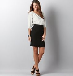 Love this dress as a fun job interview option. Not too basic, not too unusual.