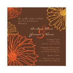 Cute Brown, Orange, and Yellow Flower (mum) Invitations    Wedding, Baby Shower, Birthday