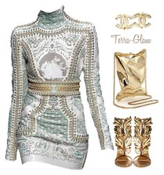 """Fashion Goddess"" by terra-glam ❤ liked on Polyvore featuring Balmain, Giuseppe Zanotti, Anya Hindmarch and Chanel"