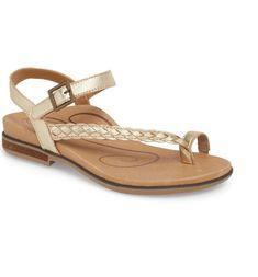 Main Image - Aetrex Evie Braided Strap Sandal (Women) Flat Sandals, Strap Sandals, Flats, Comfortable Sandals, Braids, Nordstrom, Footwear, Glamour, Evie