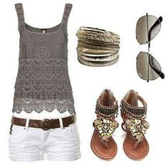 White shorts, neutral colored lace tank, bangles, aviators, and sandals.