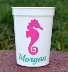 5 adorable Personalized Seahorse Party Favor Cups by ihaveafavor, $17.50