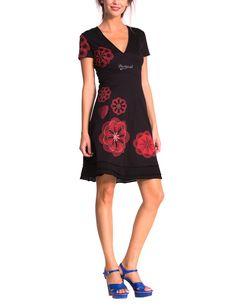 7e2bf86e66c20 Desigual Oints - Robe - Trapèze - Imprimé - Manches courtes - Femme - Bleu  (Marino) - FR  40 (Taille fabricant  M)  Amazon.fr  Vêtements et accessoires