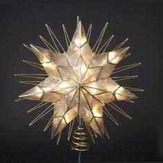 """Kurt Adler Christmas Tree Topper 14"""" Lighted Capiz Sunburst 7-Point Star  - Clear Lights"""