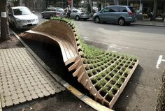 Winning entry of Portland Design Festival's Street Seats Competition by architecture professor Robert Trempe - cool bench!